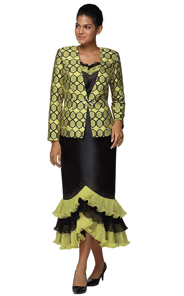 Nina Massini 3039 Womens Church Suit In Silky Twill Fabric With Tiered Ruffle Flounce Skirt
