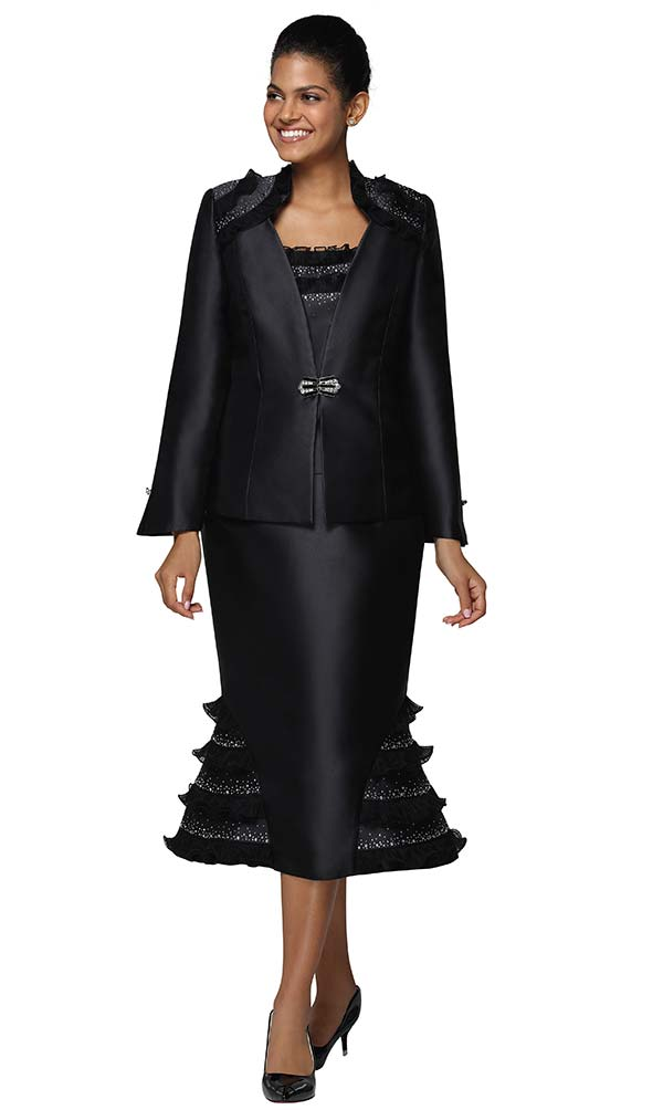 Nina Massini 3040 Womens Church Suit In Silky Twill Fabric With Gored Tier Skirt