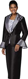 Nina Massini 3041 Womens Church Suit In Silky Twill Fabric With Bell Cuffs And Shawl Lapel