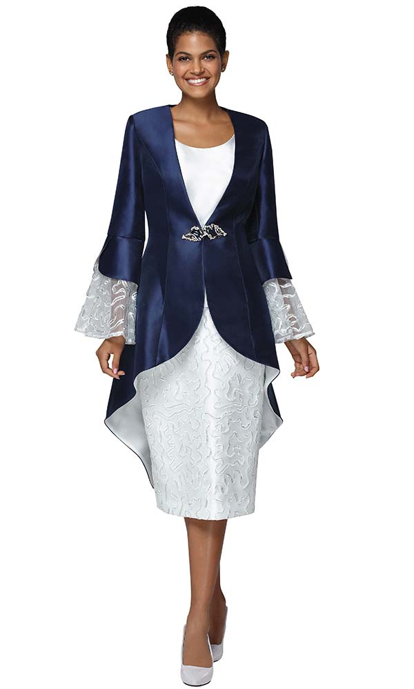 Nina Massini 3042 Womens Silky Twill Fabric Church Suit With Lace Cuff High Low Jacket