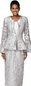 Nina Massini 3043 Floral Lace Design Womens Bell Sleeve Church Suit