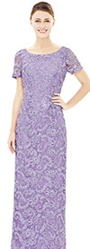 Nina Nischelle 2842 Short Sleeve Boat Neck Floor Length Lace Dress