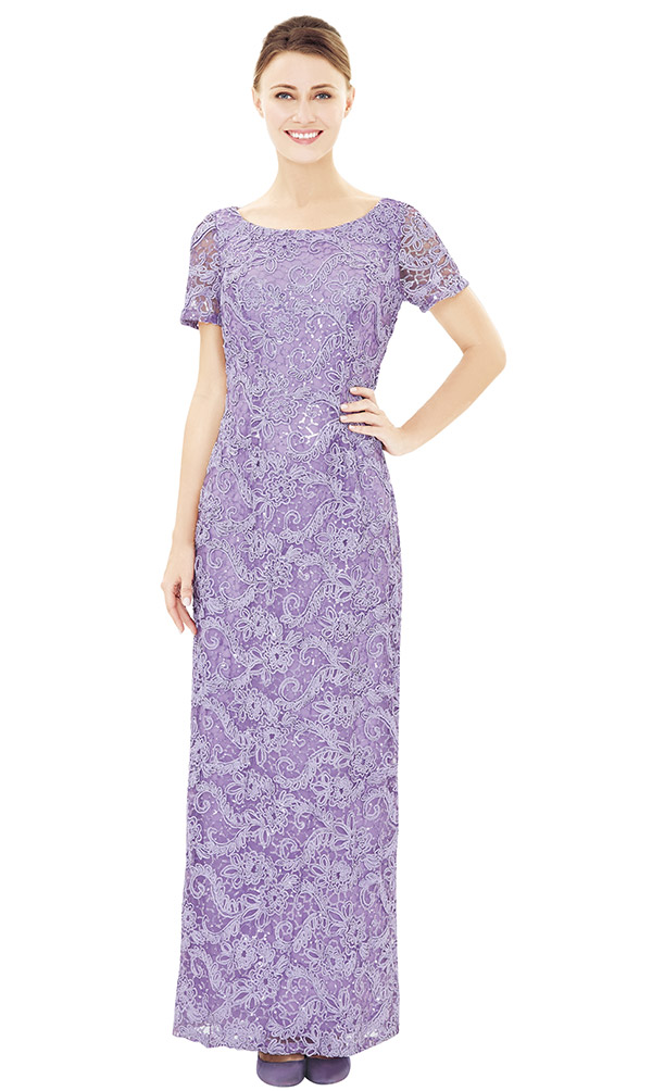 Nina Nischelle 2842 Short Sleeve Boat Neck Floor Length Lace Dress