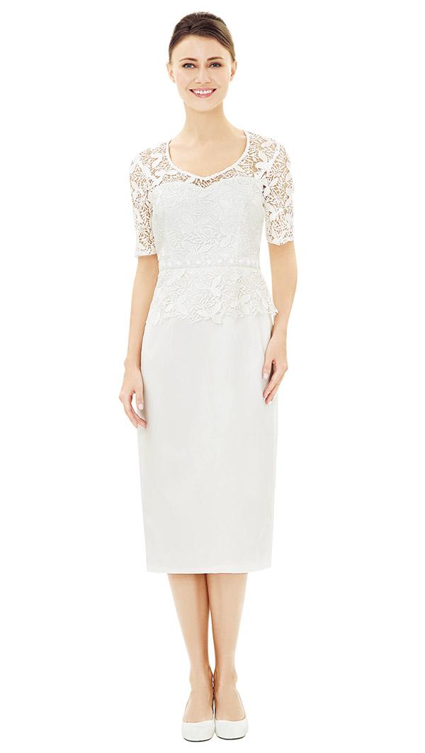 Nina Nischelle 2843 Rounded Vee Neckline Basic Dress With Lace Bodice