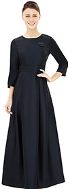 Nina Nischelle 2852 Three Quarter Sleeve Pleated Church Dress With Brooch