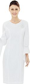 Nina Nischelle 2853 Flounce Sleeve Sheath Dress With Brooch