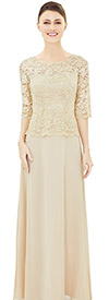 Nina Nischelle 2857 Boat Neck Half Sleeve Dress In Lace & Chiffon Fabric