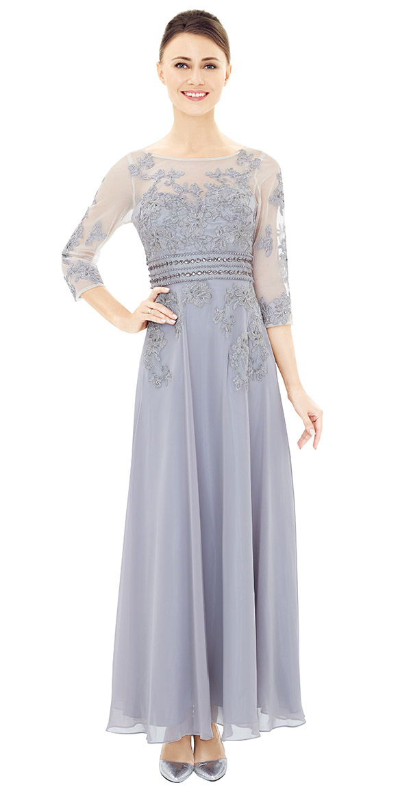Nina Nischelle 2860 Boat Neck Three Quarter Sleeve Dress In Lace & Chiffon Fabric