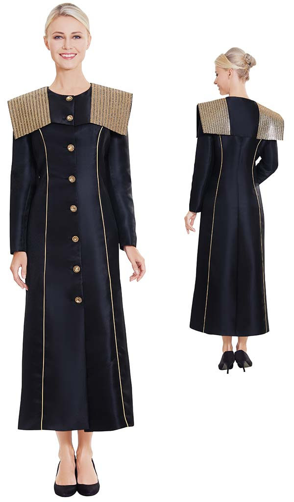 Nina Nischelle 2881-Black - Silky Twill Long Church Jacket / Robe With Shoulder Accents