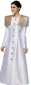 Nina Nischelle 2881-White - Silky Twill Long Church Jacket / Robe With Shoulder Accents