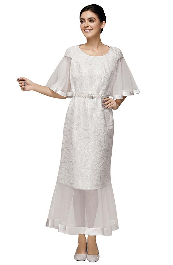 Nina Nischelle 2887 Lace And Organza Dress Wih Bell Sleeves