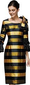 Nina Nischelle 2889 Womens Stripe Pattern Sheath Dress Wih Flounce Sleeves And Shoulder Bow