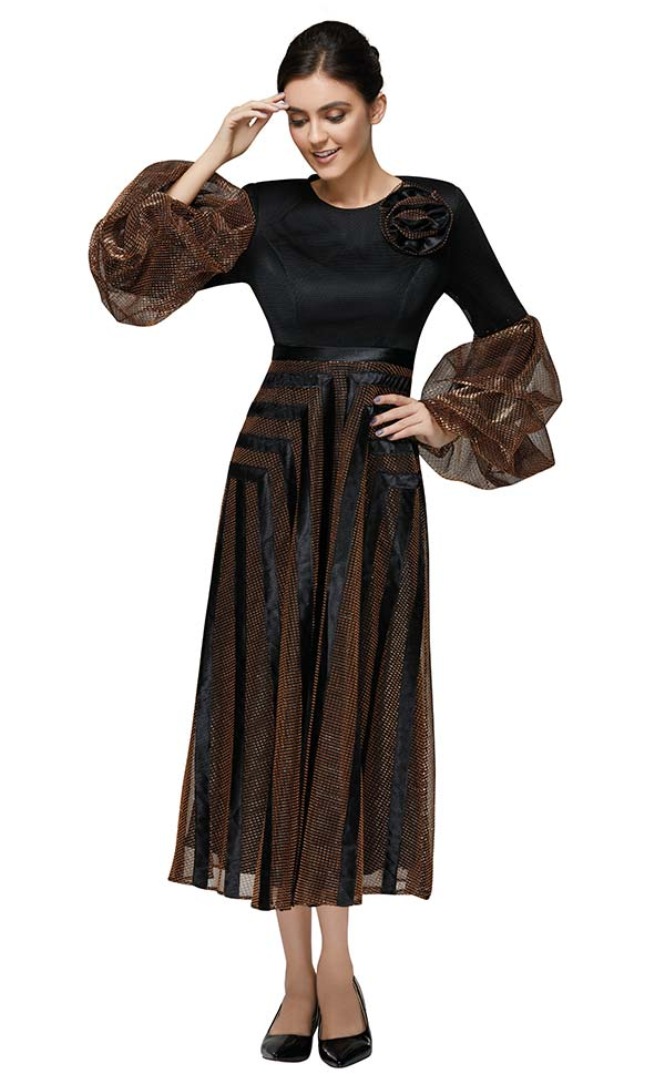 Nina Nischelle 2892 Womens Long Sleeve Maxi Dress With Puff Cuffs In Netting Fabric