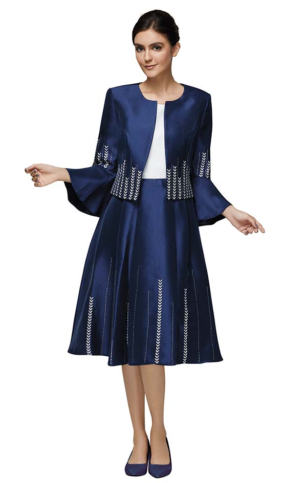 Nina Nischelle 2898 A-Line Dress & Jacket Suit With Chevron Stripe Accents