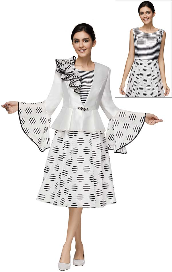 Nina Nischelle 2900 Womens A-Line Dress & Peplum Bell Sleeve Jacket Suit With Multi Stripe Design