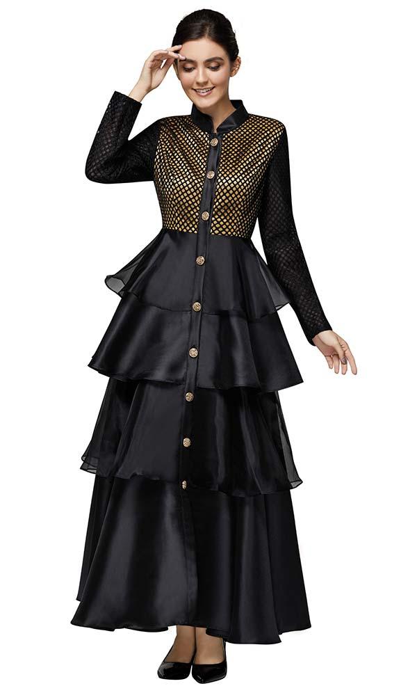 Nina Nischelle 2903 Multi Tier Design Dress In Silky Twill And Organza