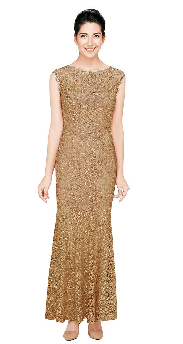 Nina Nischelle 2708 Drop Shoulder Sleeve Lace Dress