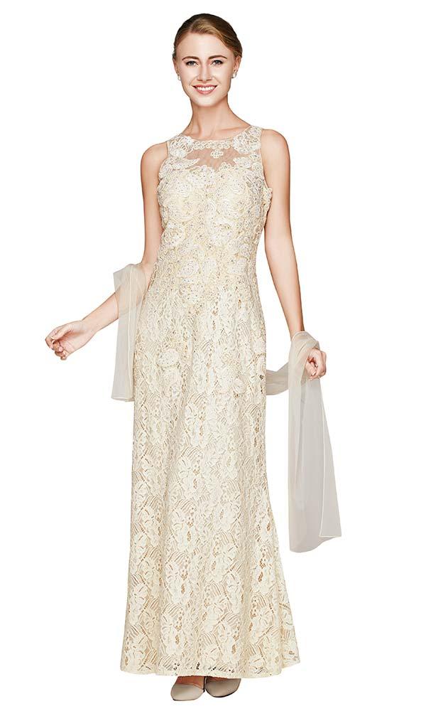 Nina Nischelle 2801 Long Sleeveless Lace Dress With Scarf