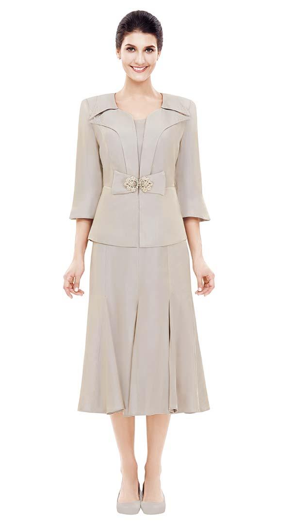 Nina Nischelle 2829 Pleated Dress & Jacket Set In Heavy Shimmer Fabric