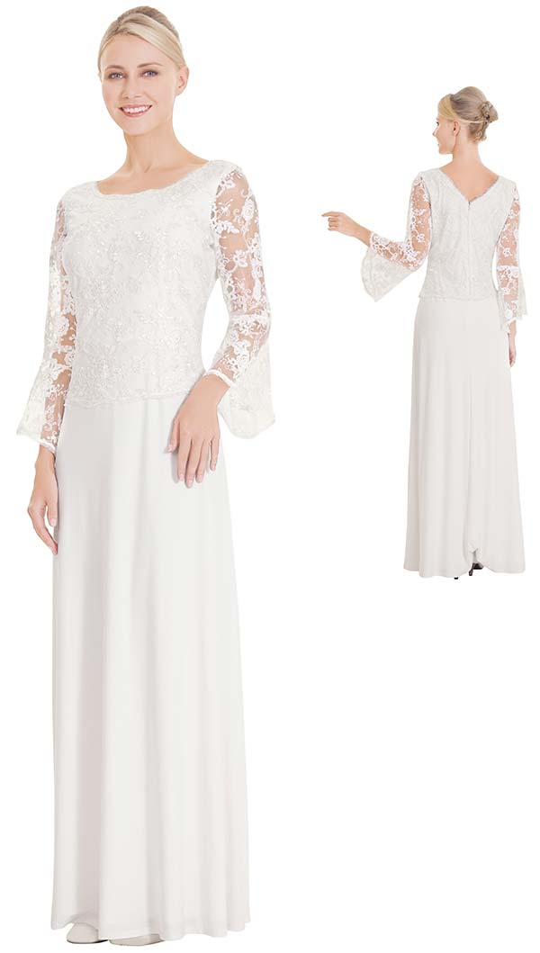 Nina Nischelle 2864 Floor Length Dress With Lace Illusion Sleeves