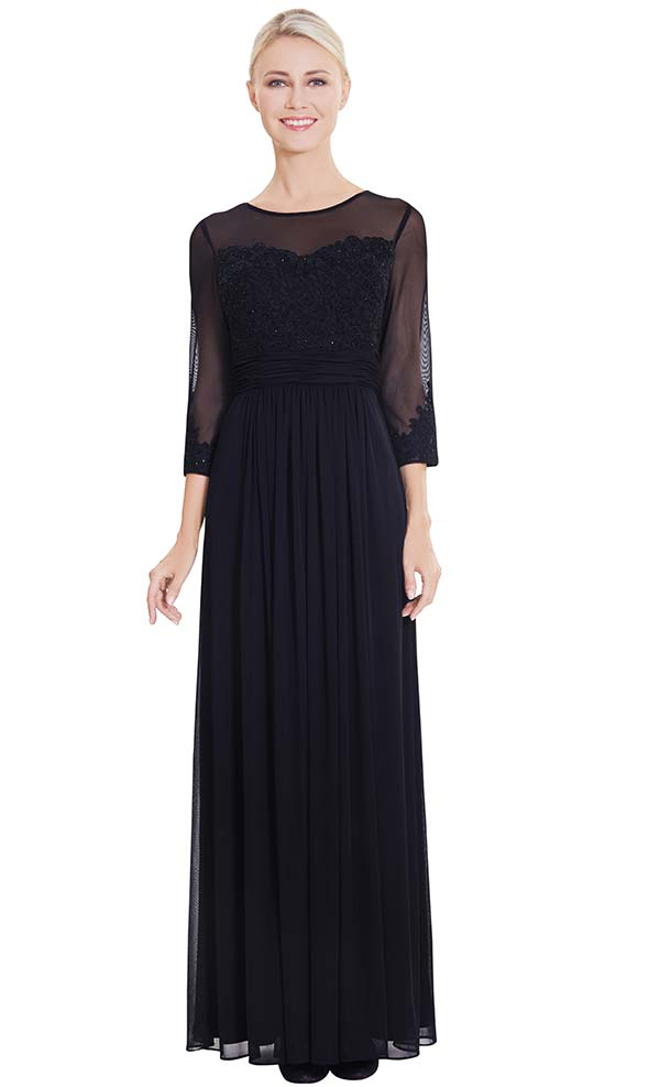 Nina Nischelle 2865 Pleated Dress With Lace & Mesh Bodice