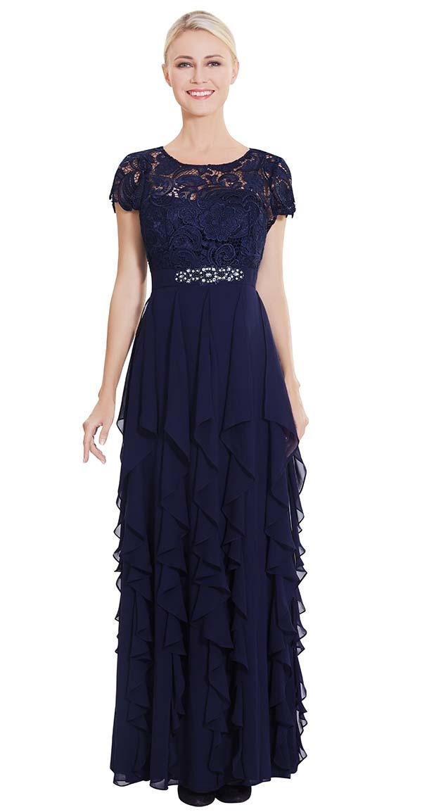 Nina Nischelle 2867 Floor Length Cap Sleeve Dress With Cascading Pleat Design