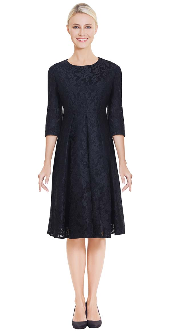 Nina Nischelle 2880 Pleated Lace Dress With Three Quarter Sleeves
