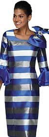 Nina Nischelle 2889-RoyalSilver - Womens Stripe Pattern Sheath Dress Wih Flounce Sleeves And Shoulder Bow