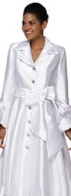 Nina Nischelle 2911-White - Double Satin Fabric Flared Dress with Bow Adorned Flounce Cuff Sleeves