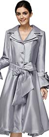 Nina Nischelle 2911-Silver - Double Satin Fabric Flared Dress with Bow Adorned Flounce Cuff Sleeves