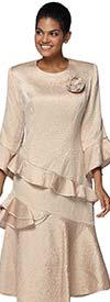 Nina Nischelle 2913 - Tilted Flounce Dress In Crinkled Satin Fabric