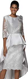 Nina Nischelle 2916 - Silky Twill Flounce Waistline Dress With Lace Detail