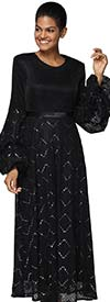 Nina Nischelle 2917 - Pleated Dress With Puff Sleeves