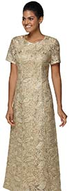 Nina Nischelle 2918 - Short Sleeve Dress In Floral Lace Fabric