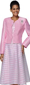 Nina Nischelle 2919 - Womens Silky Twill Striped Dress With Solid Color Jacket