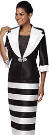Nina Nischelle 2920 - Two Tone Wide Lapel Striped Dress
