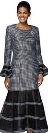 Nina Nischelle 2922 - Flounce Cuff Sleeve Drop Waist Dress With Mini Polka Dot Pattern & Stripe Design