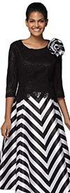 Nina Nischelle 2924 - Womens Silky Twill Chevron Striped Dress With Lace Bodice