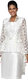 Nina Nischelle 2928 - Silky Twill Dress With Half Moon Pattern Lace Hi-Lo Jacket