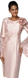 Nina Nischelle 2939 - Womens Sheath Dress With Split Ruffle Flounce Sleeves