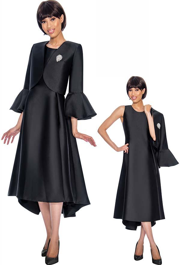 Nubiano Dresses DN3072-Black - Church Dress With Pleats & Bell Cuff Sleeve Bolero