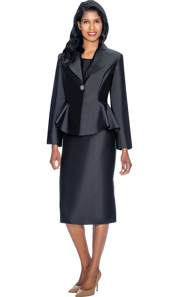 Nubiano Dresses DN3082-Black - Church Dress With Rounded Lapel Peplum Jacket