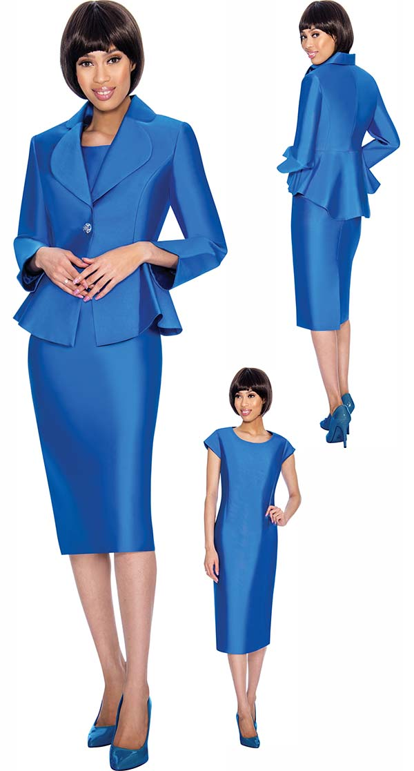 Nubiano Dresses DN3082-Royal - Church Dress With Rounded Lapel Peplum Jacket