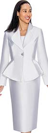 Nubiano Dresses DN3082-White - Church Dress With Rounded Lapel Peplum Jacket