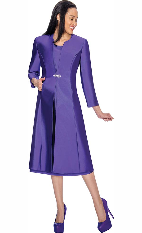 Nubiano Dresses DN3092-Purple - Cap Sleeve Church Dress With Long Jacket