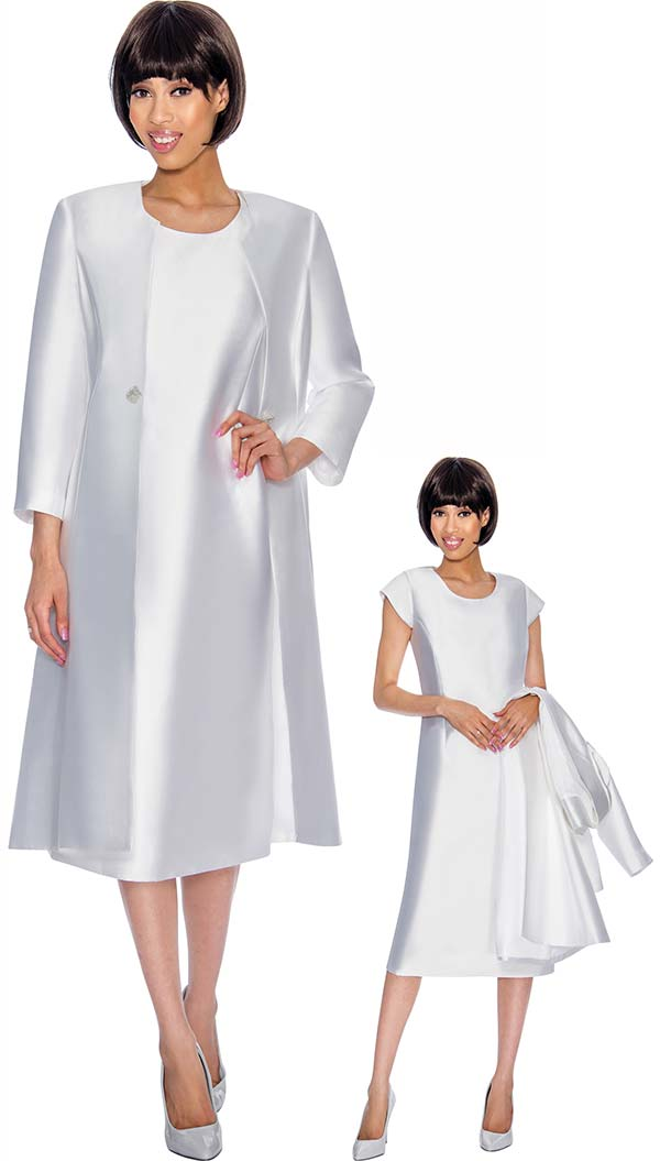 Nubiano Dresses DN3092-White - Cap Sleeve Church Dress With Long Jacket