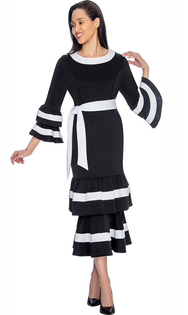 Nubiano Dresses DN3131-Black - Bell Sleeve Dress With Sash & Double Layer Flounce Design