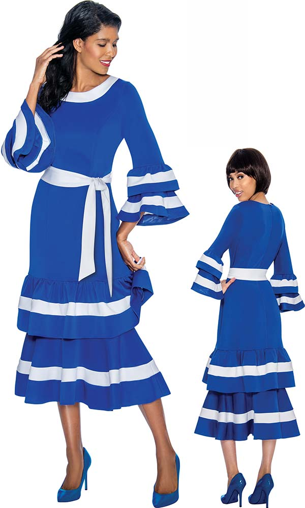 Nubiano Dresses DN3131-Royal - Bell Sleeve Dress With Sash & Double Layer Flounce Design