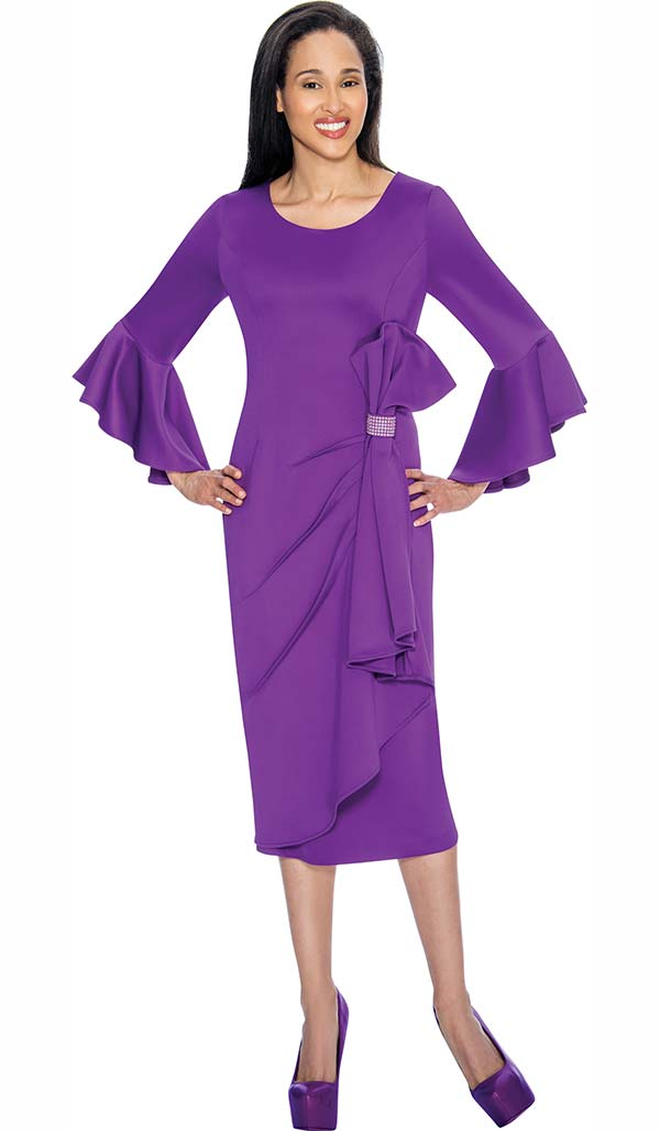 Nubiano Dresses DN3171 Ruffle Design Special Occasion Dress With Flare Sleeves