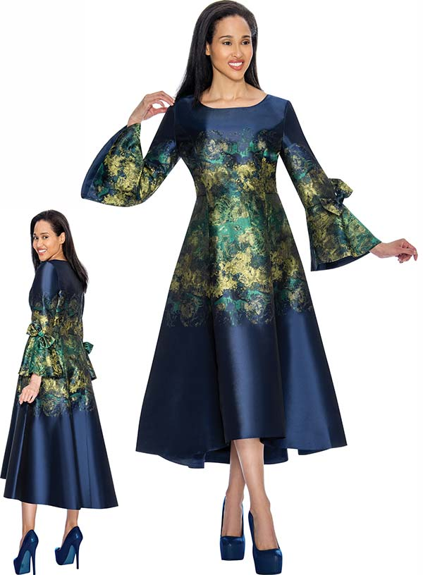 Nubiano Dresses DN3221 Printed Bell Dress With Flared Sleeve & Bow Design